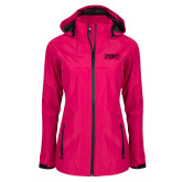 Ladies Dark Fuchsia Waterproof Jacket-Word Mark Flat