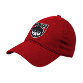 Red Twill Unstructured Low Profile Hat-Wolves Shield