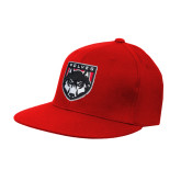 Red OttoFlex Flat Bill Pro Style Hat-Wolves Shield