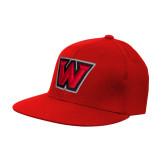 Red OttoFlex Flat Bill Pro Style Hat-W