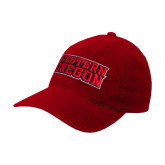 Red OttoFlex Unstructured Low Profile Hat-Word Mark Flat