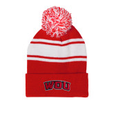 Red/White Two Tone Knit Pom Beanie w/Cuff-WOU