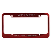 Metal Red License Plate Frame-Wolves