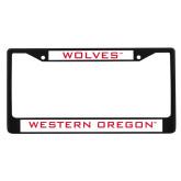 Metal License Plate Frame in Black-Wolves