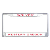 Metal License Plate Frame in Chrome-Wolves