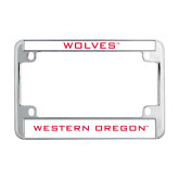 Metal Motorcycle License Plate Frame in Chrome-Wolves
