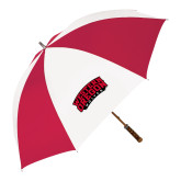 62 Inch Red/White Vented Umbrella-Word Mark Arched