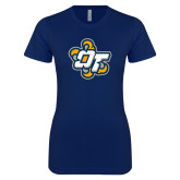 Next Level Ladies SoftStyle Junior Fitted Navy Tee-OT Claw