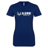 Next Level Ladies SoftStyle Junior Fitted Navy Tee-Oregon Tech Alumni