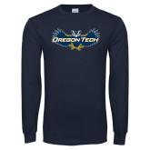 Navy Long Sleeve T Shirt-Oregon Tech Owl