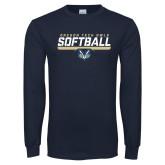Navy Long Sleeve T Shirt-Softball Design
