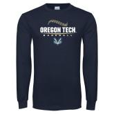 Navy Long Sleeve T Shirt-Baseball Design