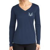 Ladies Syntrel Performance Navy Longsleeve Shirt-Primary Mark