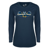 Ladies Syntrel Performance Navy Longsleeve Shirt-Oregon Tech Owl
