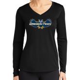 Ladies Syntrel Performance Black Longsleeve Shirt-Oregon Tech Owl
