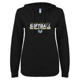 ENZA Ladies Black V Notch Raw Edge Fleece Hoodie-Softball Design