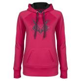 Ladies Pink Raspberry Tech Fleece Hoodie-Primary Mark Graphite Soft Glitter