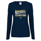 Ladies Navy Long Sleeve V Neck Tee-2018 Womens National Cross Country Champions