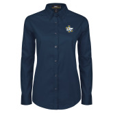 Ladies Navy Twill Button Down Long Sleeve-OT Claw
