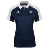 Ladies Adidas Modern Navy Varsity Polo-Primary Mark