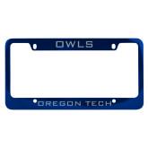 Metal Blue License Plate Frame-Owls