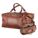 Cutter & Buck Brown Leather Weekender Duffel-ORU Engraved