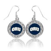 Crystal Studded Round Pendant Silver Dangle Earrings-ORU