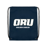 Navy Drawstring Backpack-ORU Golden Eagles