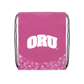Nylon Pink Bubble Patterned Drawstring Backpack-ORU