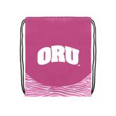 Nylon Zebra Pink/White Patterned Drawstring Backpack-ORU