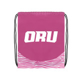 Nylon Zebra Pink/White Patterned Drawstring Backpack-ORU