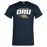 Navy T Shirt-Stacked Golden Eagles