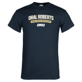 Navy T Shirt-Stacked Arched Design