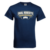 Navy T Shirt-Oral Roberts Golden Eagles Arched Shield