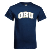 Navy T Shirt-ORU Distressed