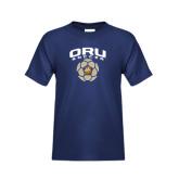 Youth Navy T Shirt-ORU Soccer Geometric Ball