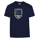 Youth Navy T Shirt-Soccer Shield Design