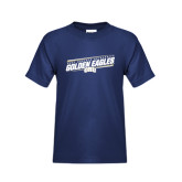 Youth Navy T Shirt-Golden Eagles Slanted w/ Logo