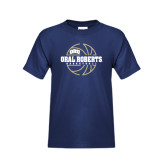 Youth Navy T Shirt-Oral Roberts Basketball Lined Ball