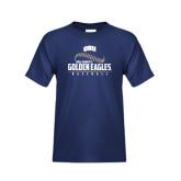 Youth Navy T Shirt-Golden Eagles Baseball Seams