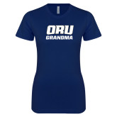 Next Level Ladies SoftStyle Junior Fitted Navy Tee-Grandma