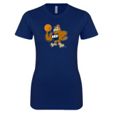 Next Level Ladies SoftStyle Junior Fitted Navy Tee-Basketball Eli