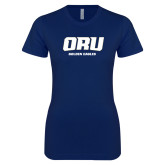 Next Level Ladies SoftStyle Junior Fitted Navy Tee-ORU Golden Eagles