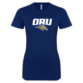 Next Level Ladies SoftStyle Junior Fitted Navy Tee-ORU w Mascot