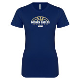 Next Level Ladies SoftStyle Junior Fitted Navy Tee-Basketball Arch Design
