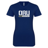 Next Level Ladies SoftStyle Junior Fitted Navy Tee-ORU Basketball Design