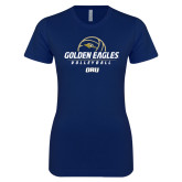 Next Level Ladies SoftStyle Junior Fitted Navy Tee-Stacked Volleyball Design
