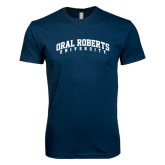 Next Level SoftStyle Navy T Shirt-Arched Oral Roberts University