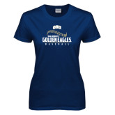 Ladies Navy T Shirt-Golden Eagles Baseball Seams