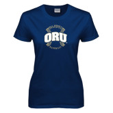 Ladies Navy T Shirt-ORU Baseball Seams